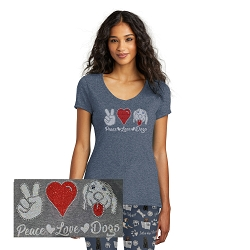 Peace Love Dogs Ladies V-Neck