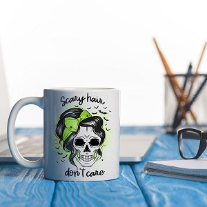 Scary Hair Don't Care mug